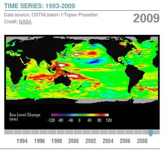 Sea Level Change World Anomalies 2009 NASA