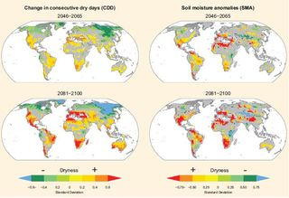 Dryness indicators for 2046-2065 and 2081-2100 IPCC Special Report Nov 2011