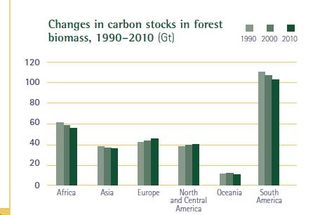 Deforestation rates worldwide changes in biomass 1990 to 2010 FAO 2010