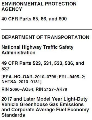 EPA NHSTA Emissions standards for light vehicles