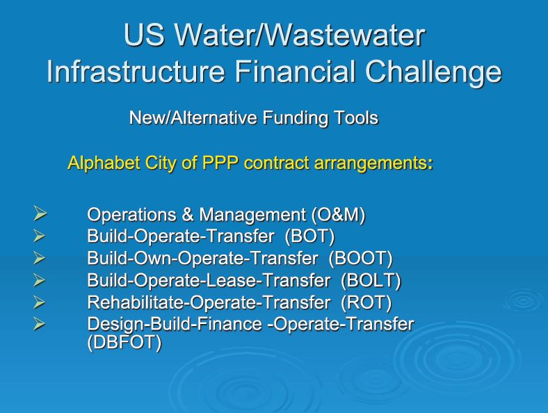 Water Funding Private Public Parnerships