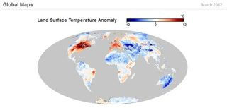 Land surface temperature anomaly March 2012 NASA Earth Observatory