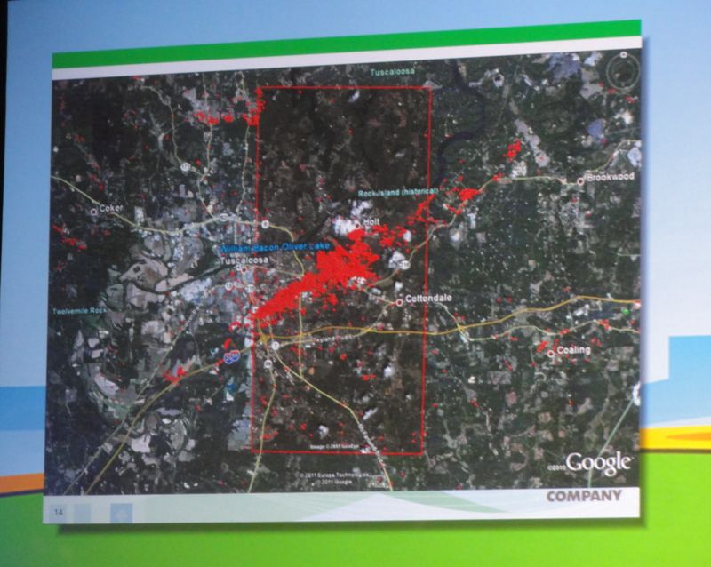 Alabama tornado tracking via smart meters April 2011