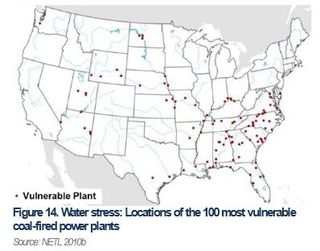 Water-stress vulnerable power plants DoE