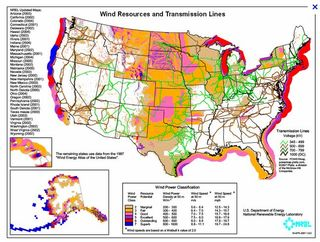 Wind resources and transmission lines US NREL 2