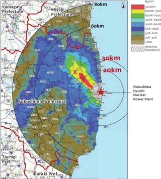 Fukushima radiation map bequerels per sq meter