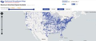 National Broadband Map availability of maximum speed US