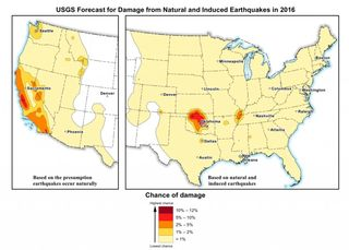 USGS forecast for damage fron induced and natural earthquakes 2016