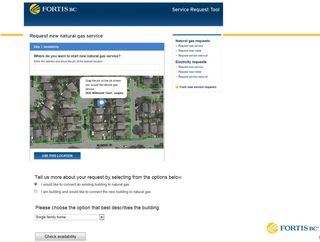 Online Service Application map of gas lines FortisBC