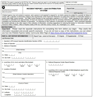 Gas pipeline incident reporting form