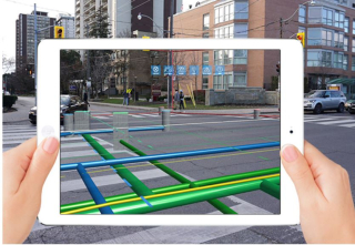 Augmented reality view of underground utilities vGIS